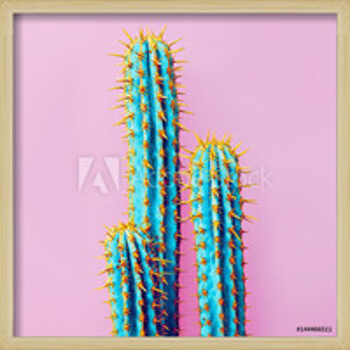 Set Neon Cactus. Minimal creative stillife Framed Poster
