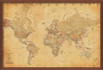 Framed Poster World Map - Antique Style