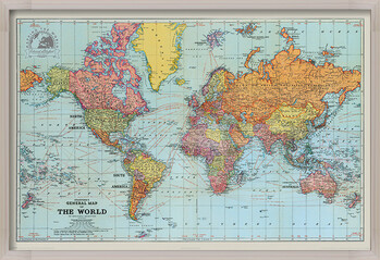 Framed Poster Stanfords General Map Of The World - Colour