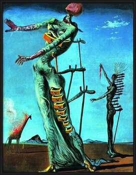 Framed Poster Salvador Dali - Girafe En Feu